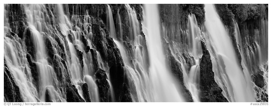 Volcanic Waterfall with widely spread channels. California, USA (black and white)