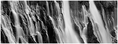 Volcanic Waterfall with widely spread channels. California, USA (Panoramic black and white)