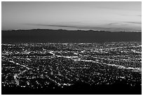 Lights of Silicon Valley at dusk. San Jose, California, USA ( black and white)
