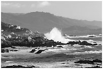 Coastline and Big wave, late afternoon, seventeen-mile drive, Pebble Beach. California, USA (black and white)