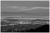 South end of the Bay with city lights at dusk. San Jose, California, USA ( black and white)