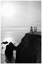 Point Bonita Lighthouse and sun, afternoon. California, USA (black and white)