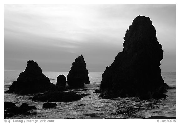 Seastacks, Rodeo Beach, afternoon. California, USA (black and white)