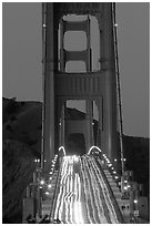 Traffic on Golden Gate Bridge at dusk. San Francisco, California, USA (black and white)