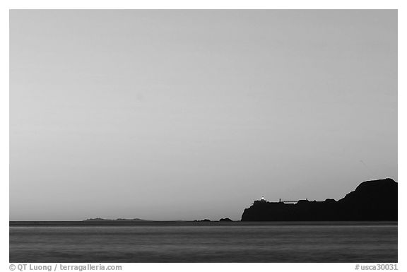 Marin headlands and Point Bonita, across the Golden Gate, sunset. California, USA (black and white)