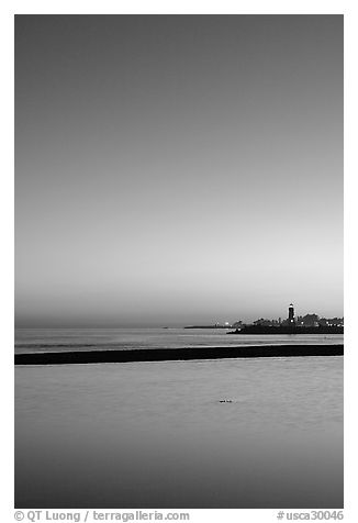 Twin Lakes State Beach, dusk. Santa Cruz, California, USA (black and white)