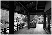 Pavilion in Japanese Friendship Garden. San Jose, California, USA ( black and white)