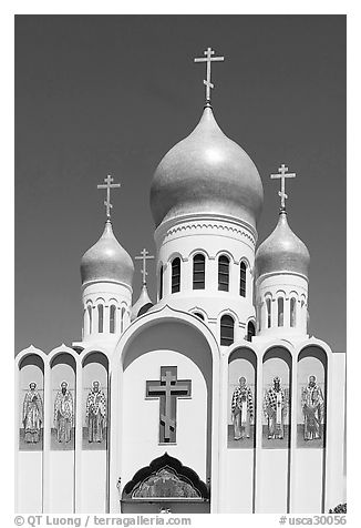 Holy Virgin Russian Cathedral. San Francisco, California, USA (black and white)
