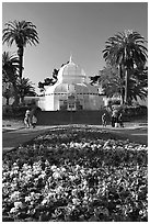 Flower bed and Conservatory of the Flowers, late afternoon, Golden Gate Park. San Francisco, California, USA ( black and white)