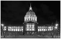 City Hall by night. San Francisco, California, USA ( black and white)