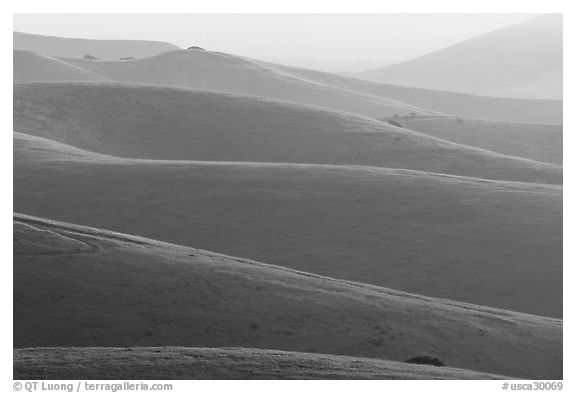 Ridglines, sunrise. California, USA (black and white)