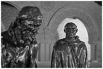 Burghers of Calais by Rodin in Quad by night. Stanford University, California, USA (black and white)