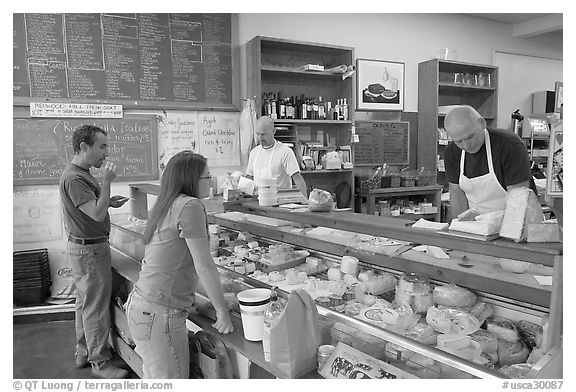 Shopping at the Cheese Board. Berkeley, California, USA (black and white)