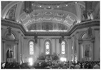 Mass inside Saint Joseph Cathedral. San Jose, California, USA (black and white)
