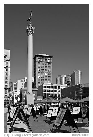 Art exhibit on Union Square central plaza, afternoon. San Francisco, California, USA (black and white)