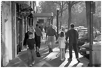 University avenue in fall, late afternoon. Palo Alto,  California, USA ( black and white)