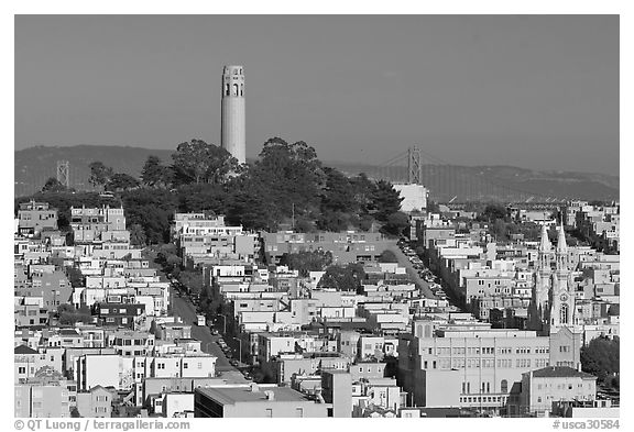 Coit Tower on Telegraph Hill, afternoon. San Francisco, California, USA (black and white)