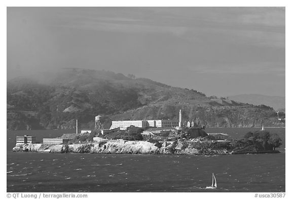 Alcatraz Island. San Francisco, California, USA (black and white)