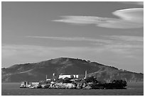 Alcatraz Island, late afternoon. San Francisco, California, USA (black and white)
