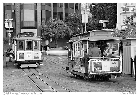 Cable car terminus. San Francisco, California, USA (black and white)
