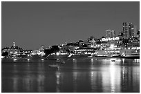 Aquatic park and Ghirardelli Square at night. San Francisco, California, USA ( black and white)