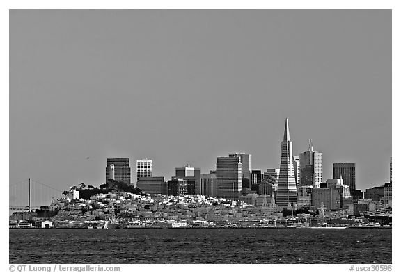 City skyline at sunset. San Francisco, California, USA (black and white)