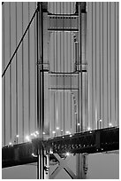 Golden Gate Bridge pillar at night. San Francisco, California, USA (black and white)