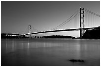 Golden Gate and Bridge, sunset. San Francisco, California, USA (black and white)