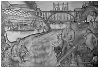 Depression-area fresco showing a dam. San Francisco, California, USA ( black and white)
