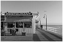 Restaurant on the Pier. Santa Cruz, California, USA (black and white)
