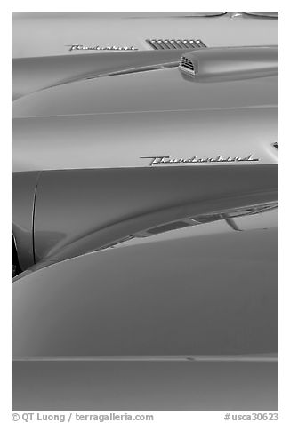 Thunderbird classic cars. Santa Cruz, California, USA (black and white)