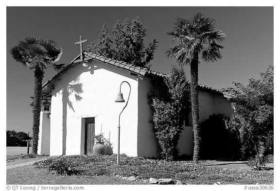 Facade of Mission Nuestra Senora de la Soledad. California, USA (black and white)
