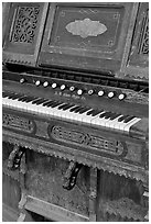 Old organ, Mission San Miguel Arcangel. California, USA ( black and white)