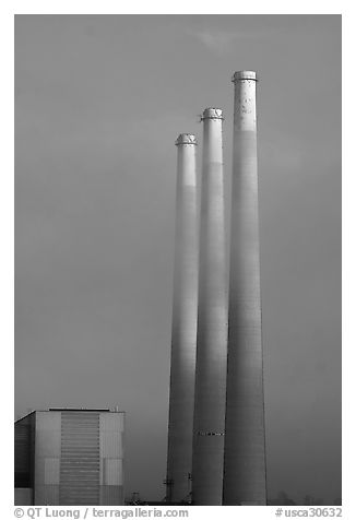 Vertical stacks of power plant. Morro Bay, USA (black and white)
