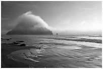 Morro Rock and fog reflected on beach. Morro Bay, USA (black and white)