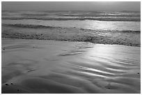 Wet sand, waves, and fog. Morro Bay, USA (black and white)