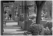Sidewalk of Santa Cruz avenue, the main shopping street. Menlo Park,  California, USA (black and white)