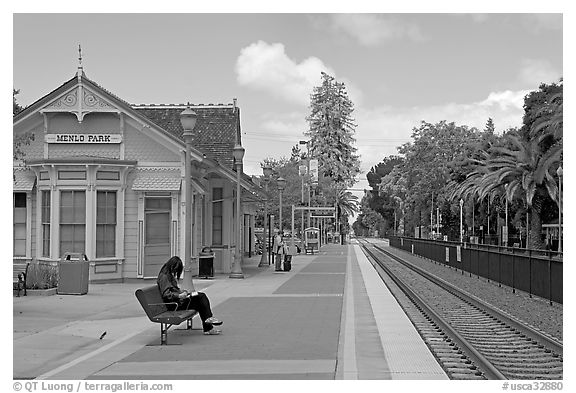 Waiting at the Menlo Park historical train station. Menlo Park,  California, USA (black and white)