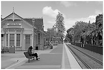 Waiting at the Menlo Park historical train station. Menlo Park,  California, USA ( black and white)