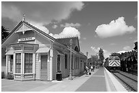 Train station in victorian style. Menlo Park,  California, USA ( black and white)