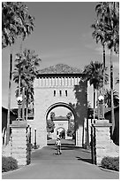West Entrance to the Main Quad, late afternoon. Stanford University, California, USA (black and white)