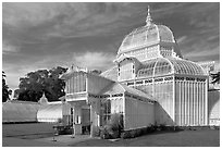 Facade of the renovated Conservatory of Flowers. San Francisco, California, USA ( black and white)