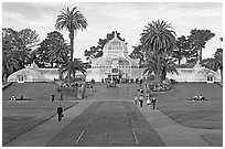 Conservatory of Flowers and lawn, afternoon. San Francisco, California, USA ( black and white)