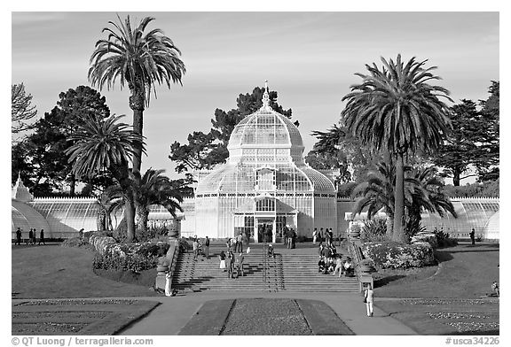 Conservatory of Flowers and lawn, afternoon. San Francisco, California, USA (black and white)