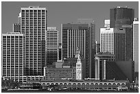 Skyline and Ferry Building building. San Francisco, California, USA ( black and white)