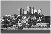 Telegraph Hill and Coit Tower seen from Treasure Island, early morning. San Francisco, California, USA (black and white)