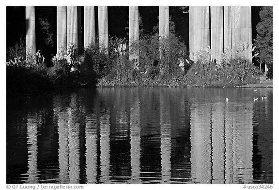 Reflection of colonade, Palace of Fine Arts, morning. San Francisco, California, USA (black and white)