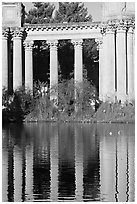 Colons and reflection, Palace of Fine Arts, morning. San Francisco, California, USA (black and white)
