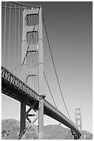 Golden Gate Bridge seen from Fort Point. San Francisco, California, USA (black and white)