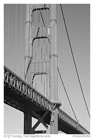 Golden Gate Bridge pillar. San Francisco, California, USA (black and white)